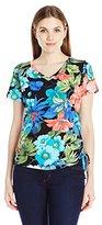 Caribbean Joe Women's Best Selling Short Sleeve V Neck Side Ruche Tie Dye Printed Top