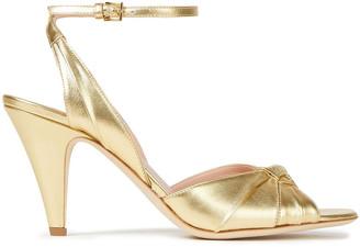 Alberta Ferretti Twist-front Metallic Leather Sandals