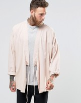 Asos Denim Kimono Shirt With Tie Up Front And Long Sleeves In Pink