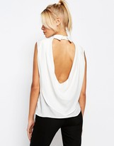 Fashion Union Drape Back Top With Collor On Back