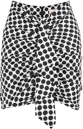 Alexandre Vauthier Monochrome polka-dot silk-blend mini skirt