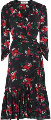 Diane von Furstenberg Paloma Ruffled Printed Stretch-mesh Midi Wrap Dress