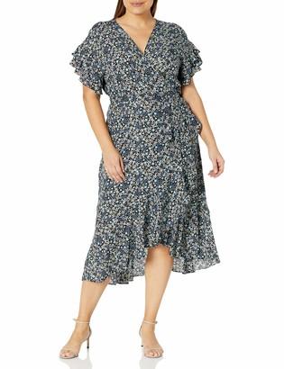 Max Studio Women's Size Short Sleeve Wrapped Midi Dress