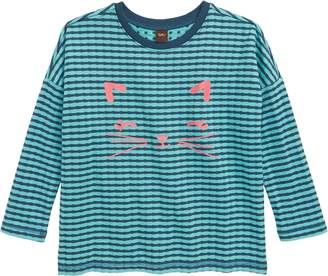 Tea Collection Meow Graphic Double Knit Top