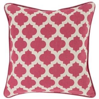 "Jerri Cotton Throw Pillow Cover Canora Grey Size: 22"" x 22"", Color: Dark Green/White"