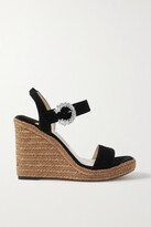 Thumbnail for your product : Jimmy Choo Mirabelle 110 Crystal-embellished Leather Espadrille Wedge Sandals - Black