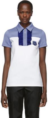 Prada White and Blue Logo Zip Polo