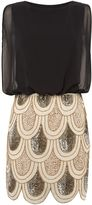 House of Fraser Lace and Beads Sleeveless Blouson Top Sequin Detail Dress