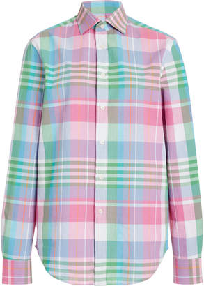 Ralph Lauren Hannah Plaid Cotton and Silk-Blend Shirt