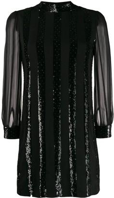 Saint Laurent Sequin Stripe Mini Dress