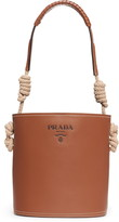 Prada Woven Top Handle Leather Bucket Bag