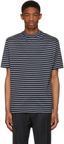 Lanvin Navy Striped Mock Neck T-Shirt