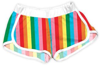 Urban Smalls Girls' Casual Shorts Multi - White & Rainbow Vertical Stripe Shorts - Toddler & Girls