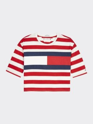 Tommy Hilfiger Organic Cotton Flag Stripe Cropped T-Shirt