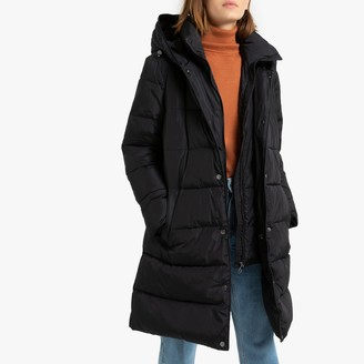 Esprit Long Hooded Padded Puffer Jacket with Pockets