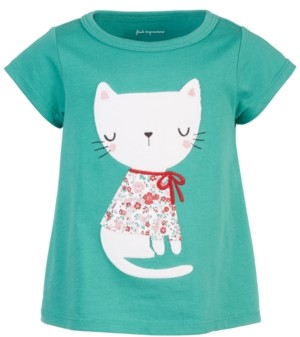 First Impressions Toddler Girls Holiday Floral Cat T-Shirt, Created for Macy's