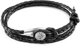 Anchor & Crew Coal Black Dundee Silver & Braided Leather Bracelet