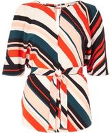 River Island Womens Red stripe belted top
