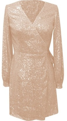 Dorothy Perkins Womens *Chi Chi London Gold Look 'Dayna' Wrap Dress, Gold