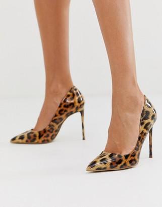 Steve Madden Vala patent pump in leopard