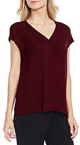 Vince Camuto Short Sleeve Mix Media Blouse