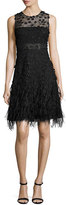 Elie Tahari Anabelle Sleeveless Lace Feathered A-Line Dress, Black