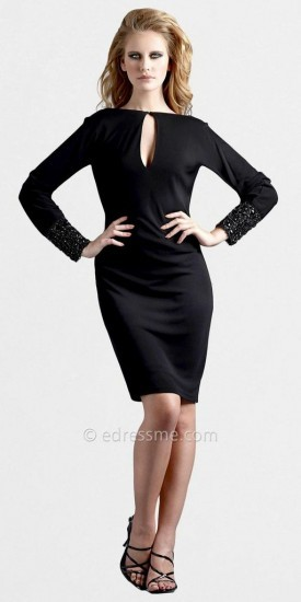 Long Sleeved Keyhole Cuff Jeweled Dresses by Terani Couture