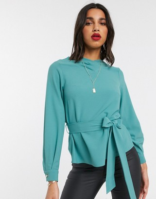 Closet London Closet tie front blouse with volume sleeve
