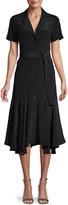 A.L.C. Ruffled Short-Sleeve Silk Belted Shirtdress