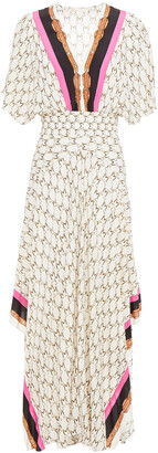 Maje Shirred Printed Crepe De Chine Maxi Dress