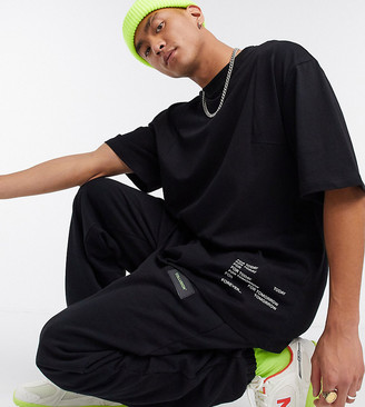 Collusion oversized t-shirt with print and contrast stitch detail