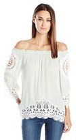 Blu Pepper Women's Off-Shoulder Long Sleeve Top with Lace Trim