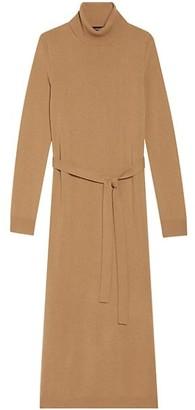 Theory Belted Cashmere Midi Turtleneck Dress