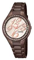 Calypso Women's Quartz Watch with Beige Dial Analogue Display and Brown Plastic Bracelet K5637/8