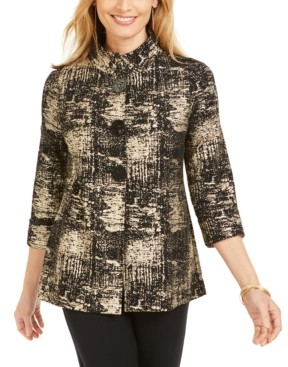 JM Collection Petite Jacquard Jacket, Created for Macy's
