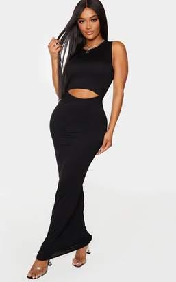 PrettyLittleThing Shape Black Jersey Cut Out Maxi Dress