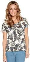 M&Co Paisley print crochet trim top