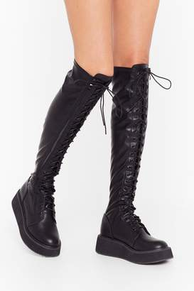 Nasty Gal Womens Pu knee high lace up flatform boots - black - 5