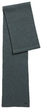 HUGO BOSS Garment Dyed Scarf With Chunky Knit Structure - Light Green