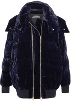 Stella McCartney Hooded Quilted Velvet Jacket - Midnight blue