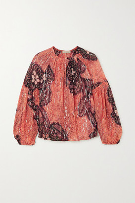 Ulla Johnson Sanya Printed Fil Coupe Silk And Lurex-blend Blouse - Orange