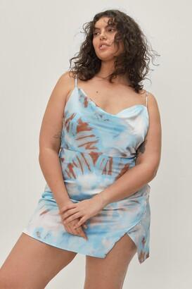 Nasty Gal Womens Right On Tie Dye Plus Mini Dress - Blue