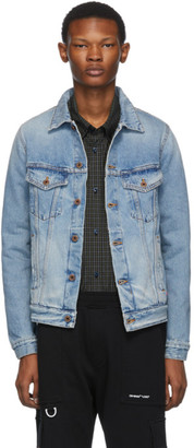 Off-White Blue Denim Slim Bleached Jacket