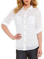 Calvin Klein Roll-Tab Long Sleeve Crinkled Voile Shirt