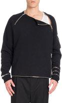 Givenchy Cuban Asymmetric Zip-Off Sweatshirt, Black