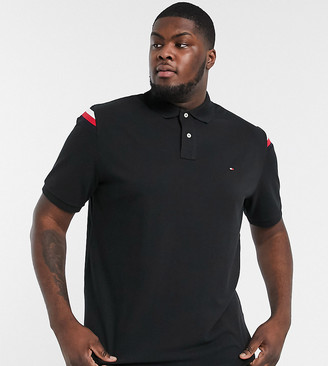 Tommy Hilfiger Big & Tall shoulder icon insert pique polo in black