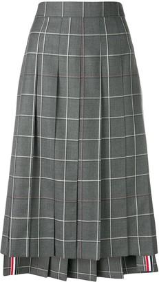 Thom Browne Windowpane-Check Pleated Skirt