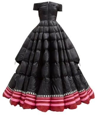 1 Moncler Pierpaolo Piccioli - Off-the-shoulder Lacquered Down-filled Gown - Black Pink