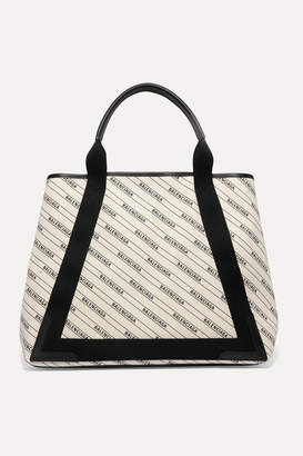 Balenciaga Cabas Medium Leather-trimmed Printed Canvas Tote - Cream