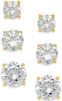 Giani Bernini Cubic Zirconia Stud Earring Set in 18k Gold over Sterling Silver or Sterling Silver
